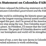 NEW: @HillaryClinton statement on the historic Colombia-FARC peace accord: https://t.co/ktx3QjK7Hz