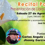 #ConDiosdadoPaLaCalle Recital Poetico Sabado 27 de Agosto 2 pm en @museobarq y presentación de libros asiste... https://t.co/eFS3taaz2p