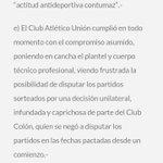 El comunicado de @clubaunion para @CopaSantaFe2016 https://t.co/e0jeVcUGOv