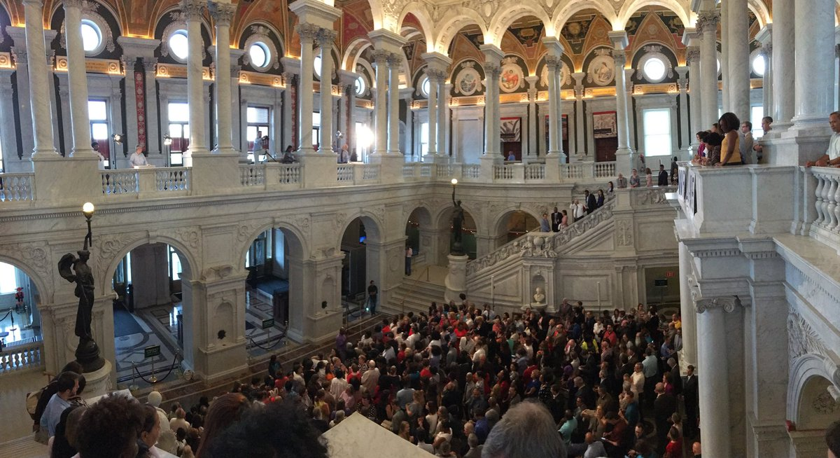 Quite a crowd welcoming Dr. Hayden to @librarycongress: https://t.co/qZ2RTECMW2