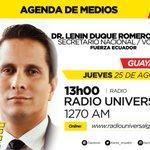 Compartimos agenda de medios - 25 de Agosto del Dr. Lenin Duque, secretario Nacional de Fuerza Ecuador. https://t.co/3Ag0zpmIA4