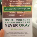 Great to see sexual violence & harassment addressed by @AlgonquinSS & @AlgonquinSA at #ACbreakfast #itsneverok https://t.co/KRCwoBiobM