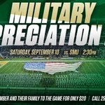 For SMU game Sept. 10, you can donate 1 or more tickets to a military member for $20 apiece: https://t.co/QBfJvggcgf https://t.co/dVaQ2mIIGg