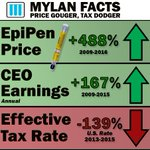 While Mylan is price gouging its EpiPen, its also dodging taxes. Read more here -> https://t.co/fIBRzbYtF2 https://t.co/GYk8Q3JNcL