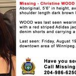 #Missing - Help us find Christine WOOD (21). Last seen Aug. 19 in downtown #Winnipeg.   https://t.co/goFifSLmyd https://t.co/BxGVfTml0m