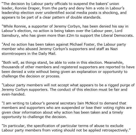 We will not accept what appears to be a rigged purge of Corbyn supporters. My response to Ronnie Draper's suspension https://t.co/p8LQ1TXndv