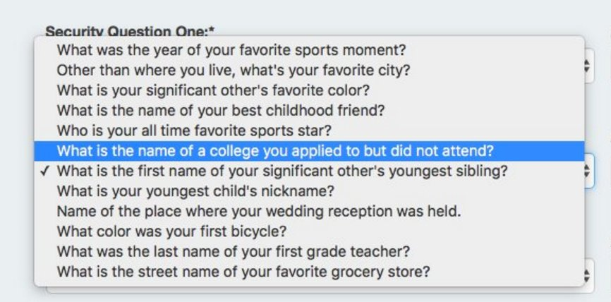Security questions have gotten out of control. Color of your first bicycle? https://t.co/rVbfOpk5zJ