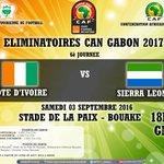"""Elim. CAN """"Gabon 2017 (6è j.) Match #CIV - #Sierra_Leon Venez Nombreux Soutenir Votre Équipe Nationale https://t.co/3Z2XXU8Gh9"""