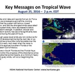 """Heres the 2 p.m. EDT """"key messages"""" from NHC regarding the tropical wave https://t.co/tW4KeGdBFb #99L @NHCDirector https://t.co/hmAhIZYjFh"""