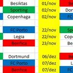 Calendários de Benfica, Sporting e FC Porto na fase de grpos da Liga dos Campeões https://t.co/clbajRhs1f