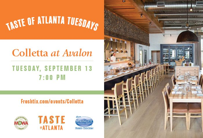Join us at Taste of Atlanta Tuesdays sponsored by Springer Mountain Farms! First up: <a href=https://twitter.com/CollettaATL target=blank>@CollettaATL</a> on 9/13! <a href=https://t.co/2LENI52hIL target=blank>https://t.co/2LENI52hIL</a>