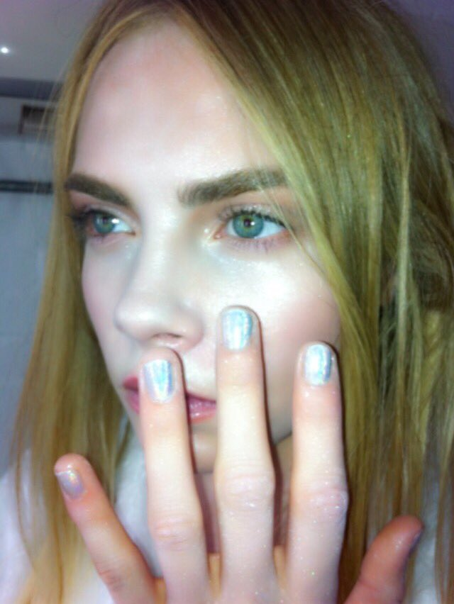 #TBT holographic nails on Cara Delevingne 2012 and Isabeli Fontana 2013 by Sophy Robson You know how we do