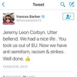 Corbyn supporters suspended for attacking Blairites. Blairite @francesbarber13 calls Jeremy Corbyn a bellend https://t.co/K9WuuoMFbS