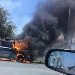 RT @HI_REYNOSA: 1 de las camionetas incendiadas de Fuerza Tamaulipas en #MiguelAleman https://t.co/pjOOmKQ5PR \Ojalá no empeore situación