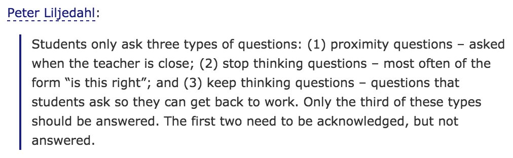 There are three types of student question. Acknowledge two. Answer one. https://t.co/0FBvGBFTTW