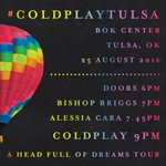 Here are the set times for tonights #ColdplayTulsa show at @BOKCenter with @thatgirlbishop and @alessiacara. A https://t.co/oAcpj0LoXF