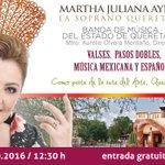 ¡Agéndalo! El Sábado se presenta la soprano queretana Martha Juliana en los @vinedosazteca. Entrada libre #Querétaro https://t.co/8dvM9Q4BVr