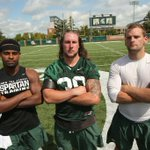 2016 MSU captains: Demetrious Cox, Riley Bullough & Tyler OConnor. (Matthew Mitchell, MSU Athletic Communications) https://t.co/06UebdWKvh