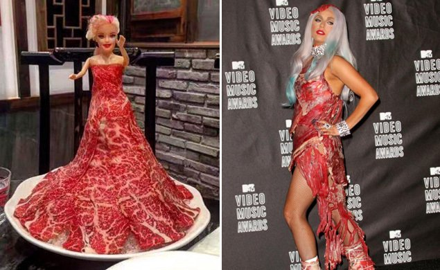 Yum or ew? — lady gaga's meat dress now being served for ...