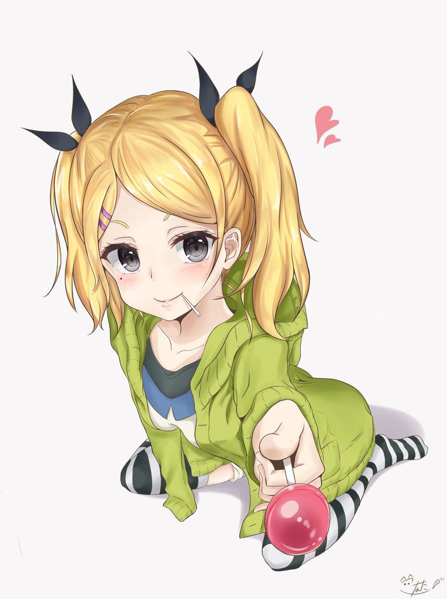 「ほーら、アメあげるからあと少し頑張って。。。♡」久々にSHIROBAKO見たら矢野さんが可愛すぎたので描きました。ほん