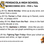 Hey TIGERS here our Homecoming Dress up days!! https://t.co/Sp6OXPDKKl