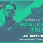 ⚽️ 📆 #Swans GOALKEEPER TRIALS.  📆 Sunday 4th Sept 🕔 5pm-6pm (U8-11) 🕕 6pm-7pm (U12-15) https://t.co/e8lXYBgPWA