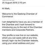 Delighted to announce Ive joined @GeelongChamber will be great to be involved in wider Geelong Business Network. https://t.co/BS30JM2YLy