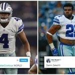 Dez Bryant was impressed by Ezekiel Elliott (making his Cowboys debut) and Dak Prescott in the 1st half. https://t.co/pP1vu03FsM
