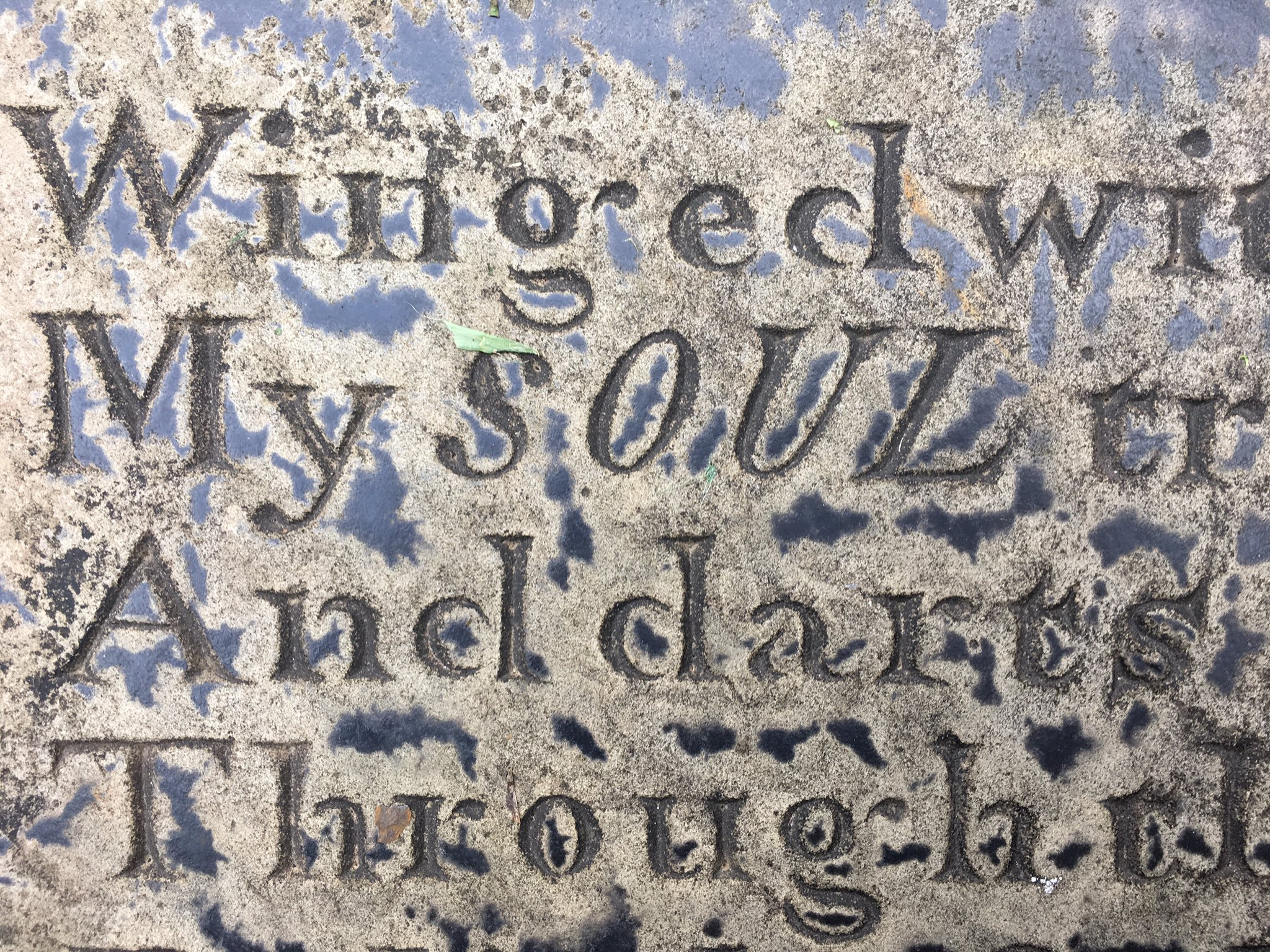 Love this enigmatic depiction of the word 'soul' on a grave of 1838 at Bury @TypeTasting https://t.co/Iv52a9RFVE