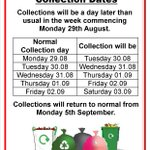 Remember that next weeks collections will be a day later than usual following the bank holiday @SwanseaCouncil https://t.co/cGRI7t7hD4