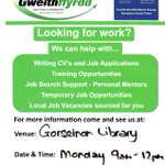 Looking for work? Gorseinon Library, mondays, 9-12pm https://t.co/I9UWSsNB72