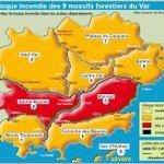 Samedi 27 août 2016, risque incendie TRÉS SÉVÈRE 🔴 pour 2 massifs forestiers. Infos sur https://t.co/yyAeZVBkch #Var https://t.co/TNIBUAj3sE