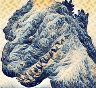 ユーザーローカルのエンジニアが、ディープラーニングで合成した #シンゴジラ と葛飾北斎。 ゴジラに富士山と海のパワーが注入され、そして、波に翻弄される舟が口の部分に表現されて、かなりカッコよくなった。 https://t.co/ErKR2o0JJR