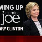 TUNE IN: @HillaryClinton joins @Morning_Joe now. https://t.co/n6ewvGkeij