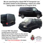 UPDATED: Appeal image for the VW Transporter T4 van involved in the report of child taken in #Redhill yesterday. https://t.co/0C0XvTKjpH