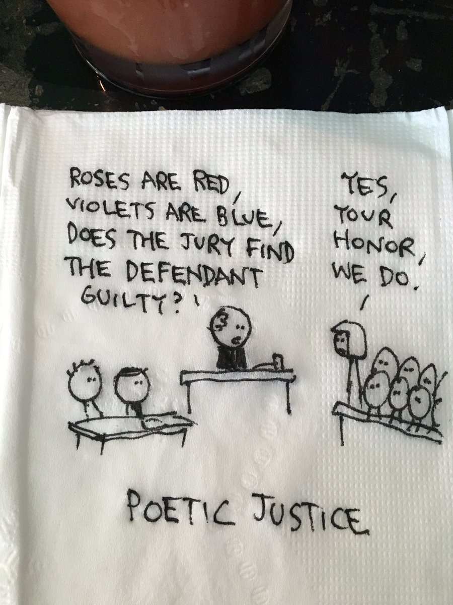 At lunch with friends at a fancy place with napkins to draw on... https://t.co/cdc8iUxkdo