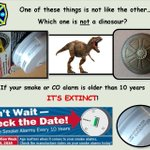 Which one is NOT a dinosaur? #DontWaitCheckTheDate!  If your smoke or CO alarm is older than 10...its EXTINCT! https://t.co/gnVpy4STpu