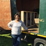 My mom posing Infront of the truck which came to fetch her ex husbands belongings. Only his clothes. Petty goals 😂💔 https://t.co/4rCaDOqtrI