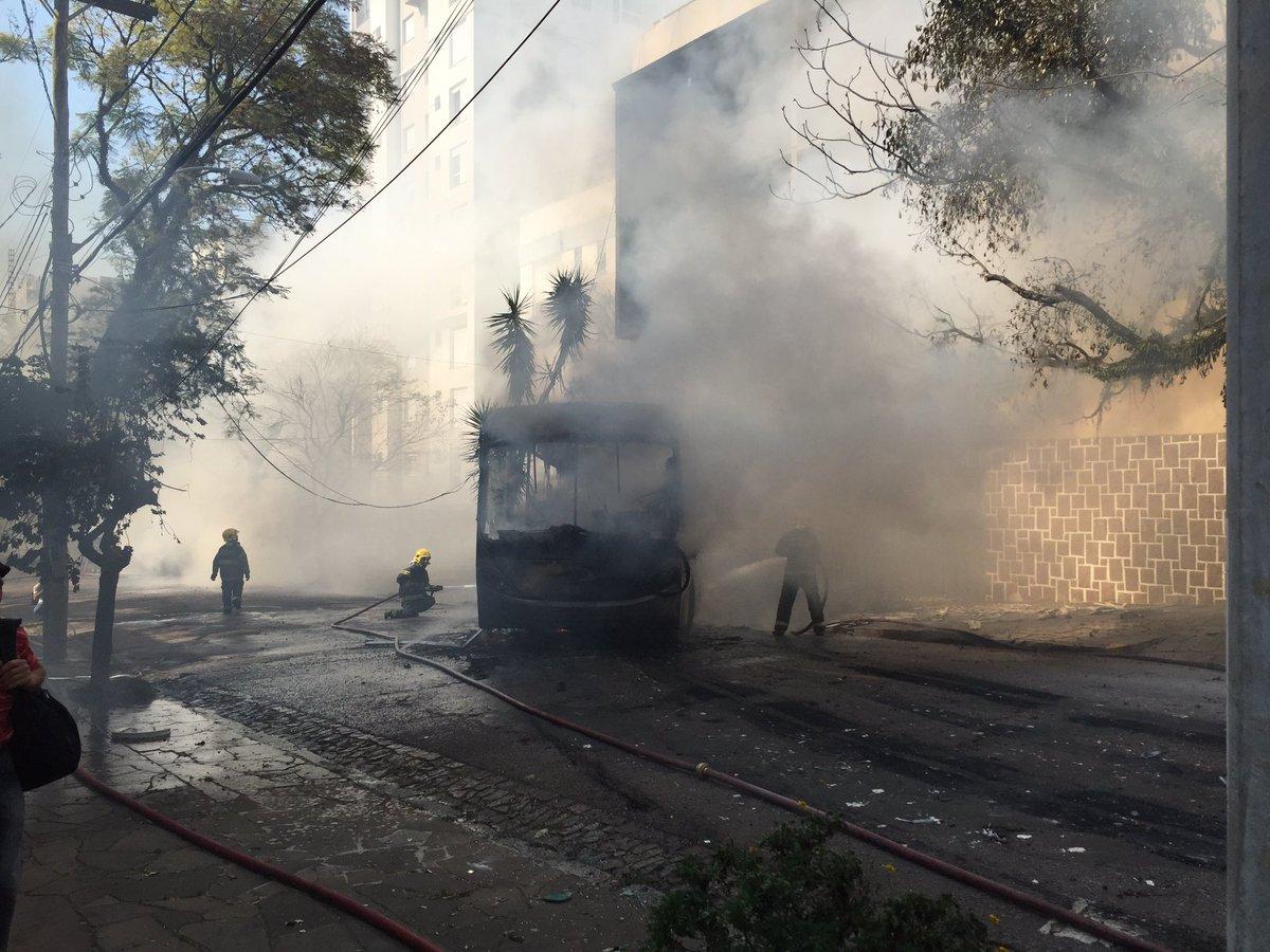 A rail bus on fire in Rio Grande do Sol Brazil
