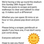 Stadium Spruce Up!! Willen Road 10am Sunday 28th August https://t.co/JEpUkGcBnd