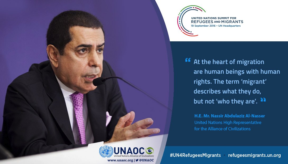 """At the heart of #migration are human beings with human rights..."" - UNAOC High Rep #UN4RefugeesMigrants #UNGA71 https://t.co/ceaJRfbUSg"
