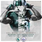 Exactly one week from tonight, there will Spartan football in Spartan Stadium! #GoGreen https://t.co/BkIToSdX3s