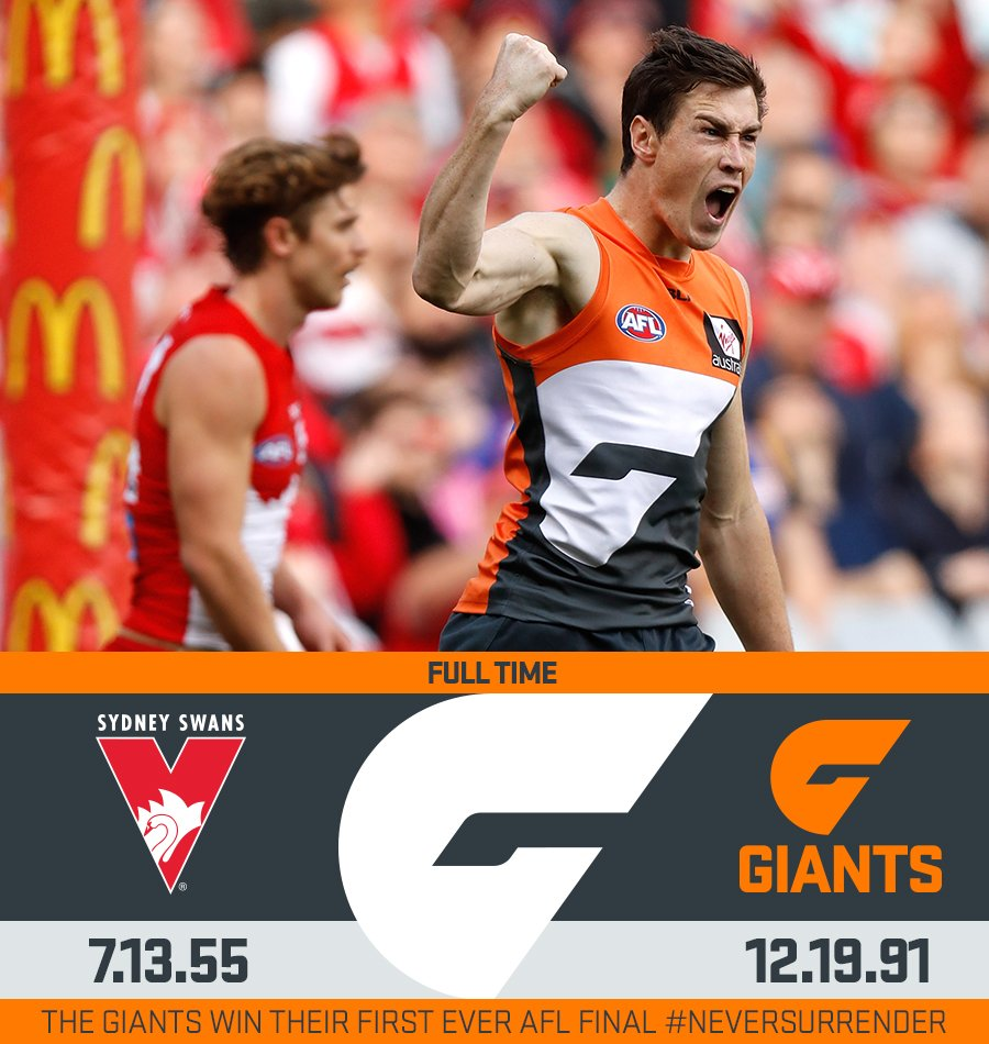 This is our time.  GIANTS into the Preliminary Final after beating the Swans by 36. #NeverSurrender https://t.co/GE0bytOBDj