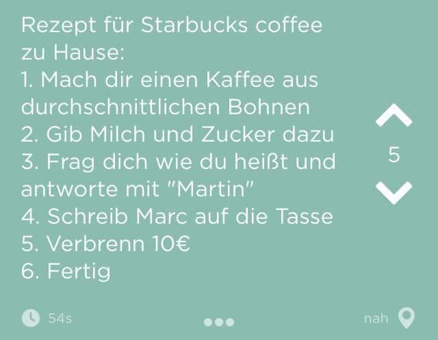 Eine sehr schöne Jodelnachricht: So erschafft man sich das Starbucksfeeling im eigenen Heim. https://t.co/4yGCY5piSp