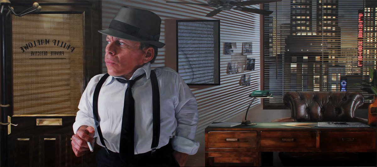 I unveiled my painting to @WarwickADavis, with him in his chosen role as Philip Marlowe - Oil on Canvas 135 x 60cm. https://t.co/F2GzH6DLjK