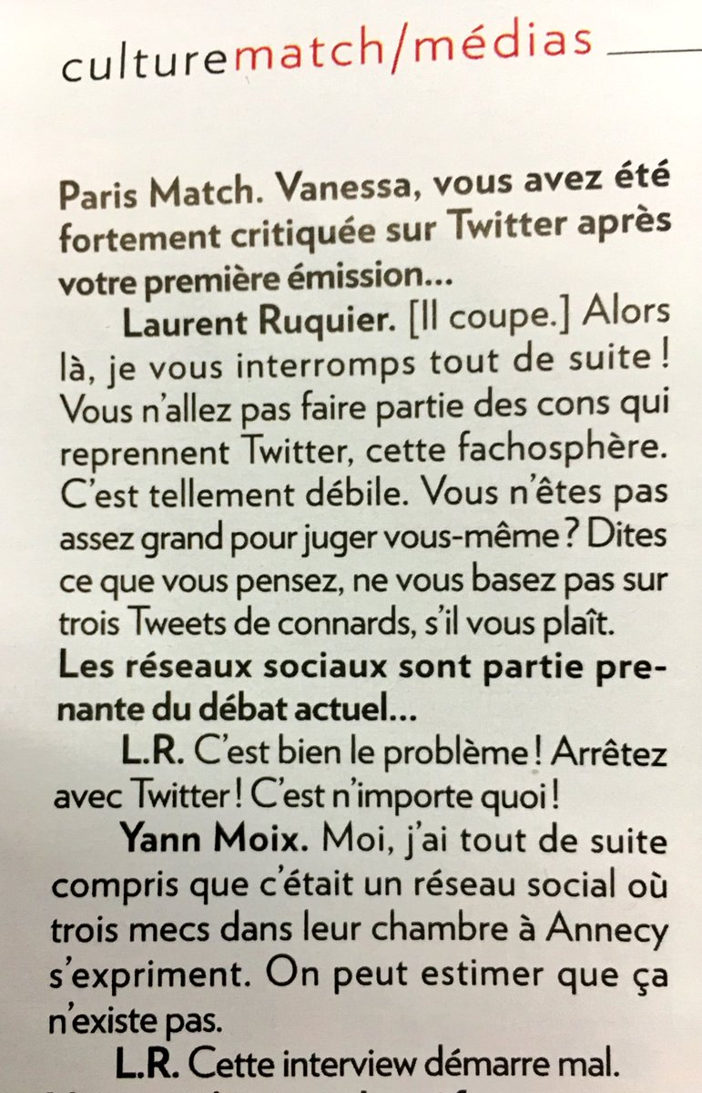 Coucou Twitter ! Pour Ruquier tu es une 'fachosphère', 'tellement débile'. (Itw à Match)