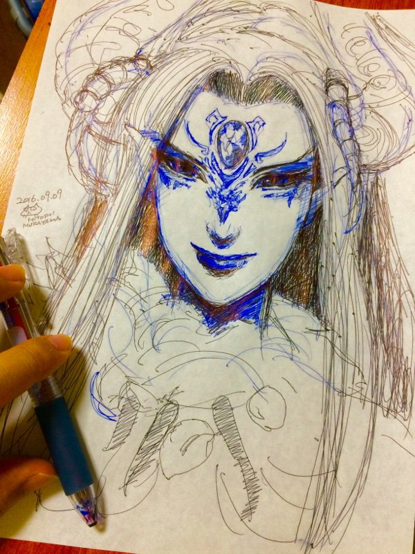 恐れ多くも、大原さやか様から刑亥のリクエストを頂き(汗)、ボールペンでガリガリ描きました!(これは若干、青を強く調整した