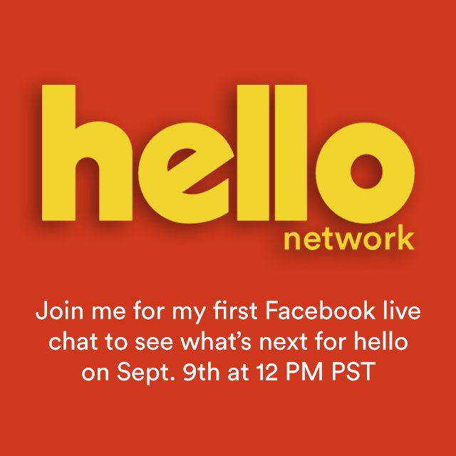 Join me for my first Facebook live chat on Sept. 9th at 12 PM PST. RSVP here: https://t.co/1aNr8sKXL8 #hello #orkut https://t.co/aAafLr48Ub