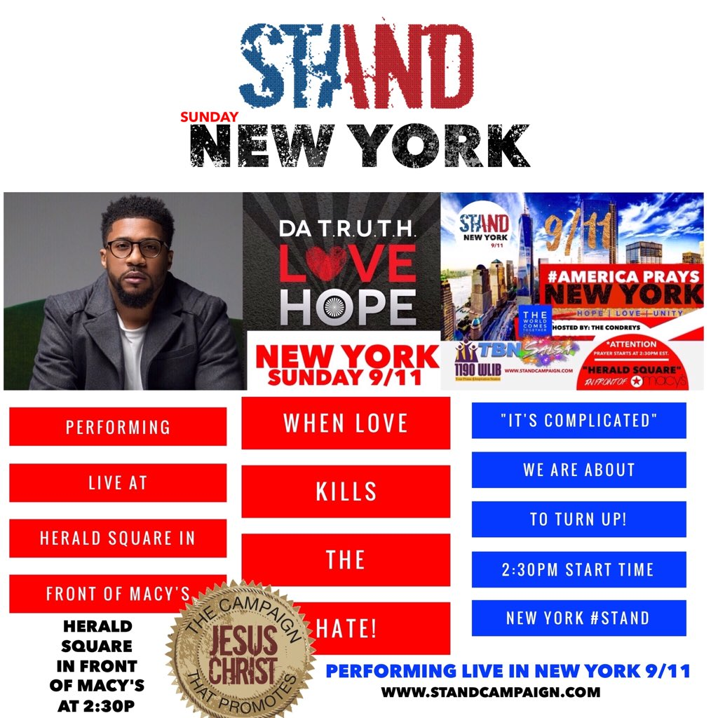 Let's stand together!!!! Come out and join us as we pray for NYC!!! Sept 11th at Herald Square. @truthonduty https://t.co/uFzx5pRZMm